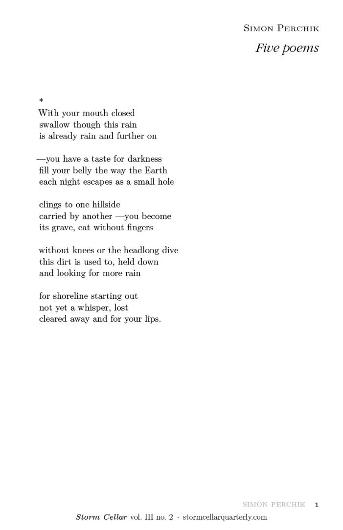 Simon Perchik - five poems [sample-1]
