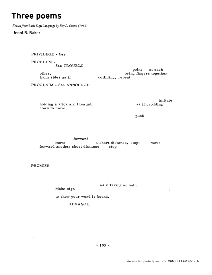 Jenni B. Baker - three poems [sample1]