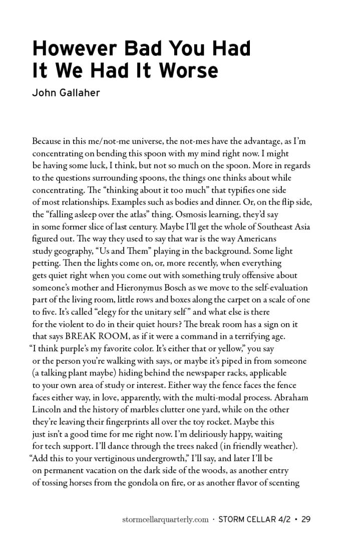 John Gallaher - two poems [sample2]